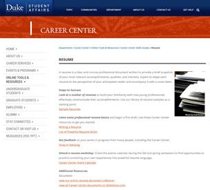 Resume Development Tips Duke University