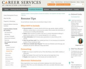 Resume Tips Princeton University Career Services