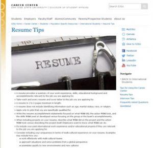 Resume Tips Career Center San Jose State University