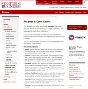 Resumes & Cover Letters Stanford University GSB